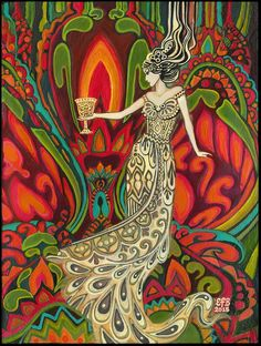 Queen of Cups Psychedelic Gypsy Goddess Tarot Art Original Acrylic Painting