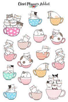 Cute Cat in Teacups Planner Stickers Cute Cat Stickers Stickers Kawaii, Cat Stickers, Printable Stickers, Cute Animal Drawings, Kawaii Drawings, Easy Drawings, Planner Stickers, Cat Doodle, Family Stickers