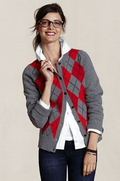 LEC - Women's Argyle Crewneck Cardigan  So preppy chic!