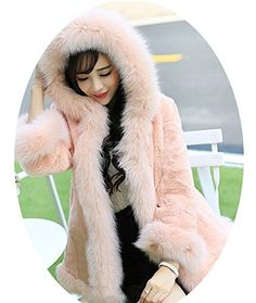 JADE Womens Solid Color Winter Thicken Faux Fur Hooded Jacket Coat Outwear Pink Large >>> See this great product.