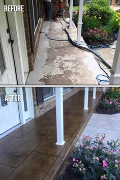 Porch Resurfacing - Transform your home or business with this high-end looking finish – inside and out. Porch Resurfacing - Transform your home or business with this high-end looking finish – inside and out. Concrete Patios, Concrete Front Porch, Painted Concrete Porch, Decorative Concrete, Stained Concrete, Front Porch Makeover, Patio Makeover, Backyard Patio, Backyard Landscaping