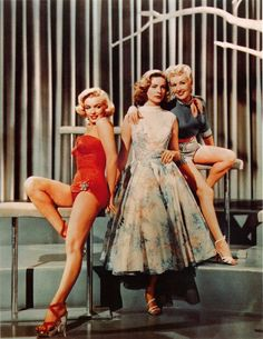 Marilyn Monroe, Lauren Bacall and Betty Grable in How To Marry a Millionaire, 1953.