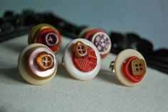 Recycled Buttons Sweet earth tones adjustable Rings by IzzySkully, $15.00