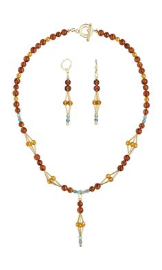 Jewelry Design - Single-Strand Necklace and Earring Set with Amber and Resin Gemstone Beads, Swarovski® Crystals and Gold-Plated Brass Beads - Fire Mountain Gems and Beads