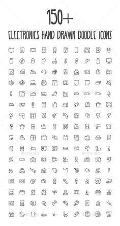 150+ Electronics Hand Drawn Icons