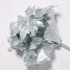 Silver Poinsettia Silk Flowers 2''