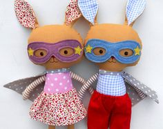 Surprise the little ones in your life with a personalized present and a bespoke toy they never knew they wanted!  Bunny is made to order, please convo me for current turnaround times.  Personalize your doll with a name tag. - Choose your favourite La Loba superhero doll - add this listing with the name tag to your cart as well: http://etsy.me/1VzyFzs  At checkout, please leave me any requests in the comments section of your wished name or short message.  Name tags are hand emb...