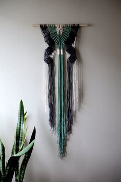RESERVED FOR JENNA --- This macrame wall hanging will be made from natural white cotton and hand dyed rope in teal and dark grey, and will be