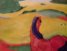 Horse in a landscape Painting  - Horse in a landscape Fine Art Print by Franz Marc