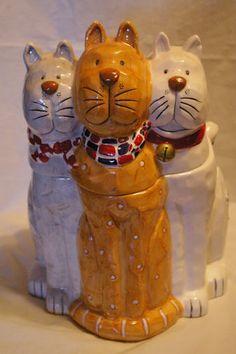 Vintage Ceramic 3 Cat Cookie Jar Made in Japan | eBay