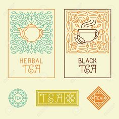 Vector Tea Packaging Labels And Badges In Trendy Linear Style ...