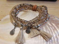 MILA - 5-er Perlenarmband - hellbeige Tassel Necklace, Beige, Jewelry, Fashion, Semi Precious Beads, Wristlets, Moda, Jewlery, Jewerly