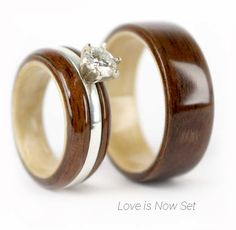 Handcrafted walnut and maple wood ring set made from salvaged wood. Each wooden ring tells your story.