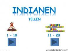 Digibordles Indianen: tellen http://digibordonderbouw.nl/index.php/themas/indianen/indianendigibordlessen
