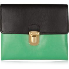 Marni Two-tone leather clutch ($235) ❤ liked on Polyvore featuring bags, handbags, clutches, purses, genuine leather purse, green handbags, leather hand bags, man bag and leather purse