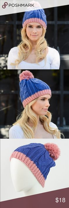 Royal blue Beanie Two tone cable knit beanie. 100% acrylic Accessories Hats