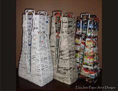 (GREAT PICS for Inspiration!!!)  V Paper Woven Vase. $72.00, via Etsy.