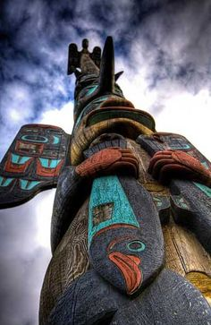 A totem pole in Ketchikan, Alaska, We all living beings are made of the same energy and substance either mater or antimatter, therefore we have to respect life in all its disguises starting with animals and environment. Arte Inuit, Arte Haida, Native Art, Native American Art, Le Totem, Alaska The Last Frontier, North To Alaska, Tlingit, Alaskan Cruise