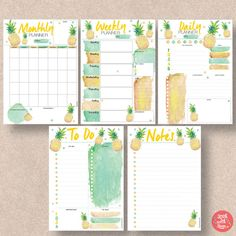 Pineapple Printable Instant Download so these printable planners are yours forever and to print as many times as you like. Comes in 4 sizes: A4, A5, Letter and Half Letter (half page).  5 different pineapple themed insert planner pages: Daily Planner, Weekly Planner, Monthly Planner, To Do List and Notes. The Weekly and Monthly is a Sunday to Saturday start. For a Monday to Sunday start see our section titled Packs and Bundles.  All are Printable PDFs. You will receive all 4 sizes: A4, A5…