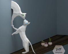 Papercraft chats, Couple de chats (2 grilles en PDF), Sculptures de papier de bricolage, Low Polygon, Lowpoly chats, bricolage 3D Papercraft, premier cadeau d'anniversaire