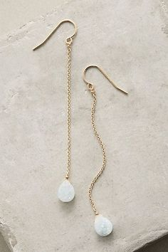 Druzy Duster Earrings #anthropologie Like the simplicity of these. The little white balls look like snowballs, so cute.