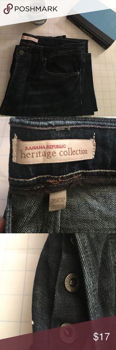 Banana Republic Men's dark wash slim jeans. Banana Republic Men's 35*32 dark wash button fly slim fit jeans. Light color seams. Whiskers. Perfect for going out with friends. Banana Republic Jeans Slim