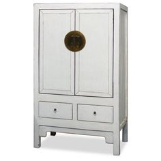 """Elmwood Ming Style White Armoire by ChinaFurnitureOnline. $1390.00. Dimensions: 39.5""""W x 21.5""""D x 71""""H. Inspired by ancient Chinese wedding cabinets, this armoire makes a adds a contemporary twist with a white lacquer finish. Designed in the Ming style, its beauty lies in the details. The large exquisitely hand-forged round silver plate illustrates the twelve animals of the Chinese zodiac while the two smaller plates depicts traditional courtyard scenes. Two removable..."""
