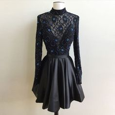 Generous High Neck Long Sleeves Open Back Short Black Homecoming Dress with Beading Lace