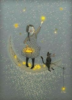 Find images and videos about cat, stars and moon on We Heart It - the app to get lost in what you love. Art And Illustration, Creative Illustration, Landscape Illustration, Art Fantaisiste, Moon Art, Whimsical Art, Pics Art, Stars And Moon, Sun Moon