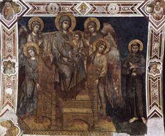 Majestad de Asís con el niño Jesús en trono, cuatro ángeles y san Francisco. Afresco en el transepto derecho de la Basílica Inferior de San Francisco de Asís. Cimabue 1285 - 1288