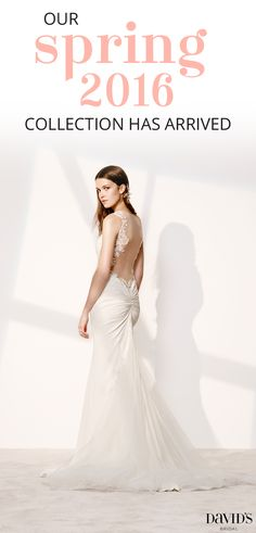 With our beautiful Spring 2016 wedding collection, find a dress that speaks to you! Dreaming of a dramatic look? Look no further than our collection of cascading chiffon ruffles, layers of tulle, peplums or tiers of texture. Explore our large collection of beautiful dresses just in time for your Spring wedding! Find your picture perfect dress at David's Bridal today.