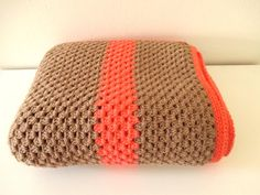 Crochet Blanket Granny Stripes mocca brown and salmon rose