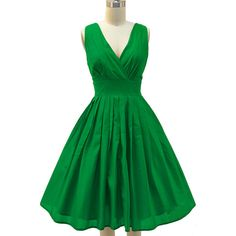 pinup style surplice sun dress grass green ($49) ❤ liked on Polyvore featuring dresses, cross over dress, green pin up dress, surplice dress, green pinup dress and sleeveless cocktail dress
