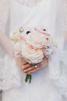 Pastel ranunculus bouquet for this winter wedding at The Bowery Hotel Photography by http://www.mademoisellefiona.com, Florals by http://www.foxfodderfarm.com/  Read more - http://www.stylemepretty.com/2014/03/25/winter-wedding-at-the-bowery-hotel/ #SMP