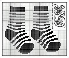 cross stitch pattern for striped socks Diy Embroidery, Embroidery Patterns, Cross Stitch Patterns, Filet Crochet, My Picot, Broderie Simple, Cross Stitch Baby, Stitch 2, Knitting Charts