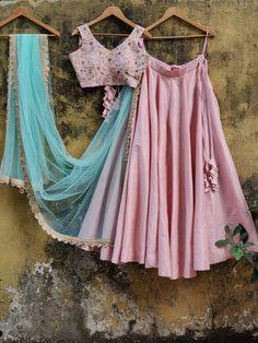 Indian Gowns Dresses, Indian Fashion Dresses, Event Dresses, Indian Outfits, Ethnic Outfits, Lehenga Designs Simple, Simple Lehenga, Raw Silk Lehenga, Pink Lehenga