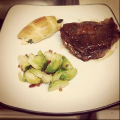 Rib-eye steak, brussel sprouts & crescent rolls with asparagus!!