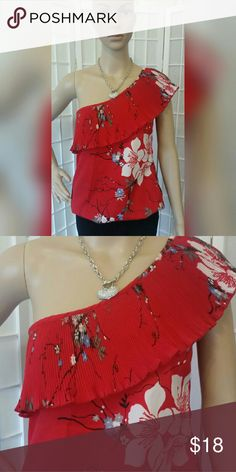 Nwt Maurice's floral ruffle top shirt blouse Nwt Maurice's floral ruffle top shirt blouse   Red blue white gray black   No flaws  Material content  100% polyester   Measurements aprox  Chest 32in. Length 25.5in Maurices Tops Tank Tops