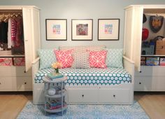 Great idea for Kate's daybed in the middle and armoires or bookshelves on either side.