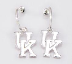University of Kentucky Wildcats Silver Tone Logo Dangle Hoop Earrings