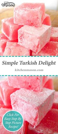Rosewater Turkish Delight -- My yiayia used to make these, used homemade rosewater too! So delicious Homemade Sweets, Homemade Candies, Homemade Food, Diy Food, Homemade Candy Recipes, Food Food, Food Ideas, Fudge, Cake Candy