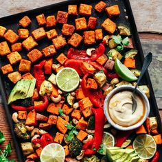 One full meal. One sheet. 30 Minutes. This is what this recipe is all about. An easy, quick, and satisfying sheet pan that features crispy tofu, roasted sweet potatoes, red bell pepper, broccoli, zucchini, and cashews! Obviously, the veggies you use are fully customizable. The dipping sauce is a 1-minute Thai-spiced hummus. It's basically plain...Read More »