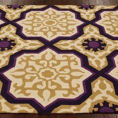 Lisa Rug, 100% wool rug, purple and yellow rug, eggplant & black rug, accent rug, home decor