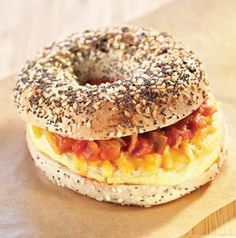 Yes, you have time for breakfast before work or school! While the bagel toasts, microwave the egg. Wrap and walk out the door.