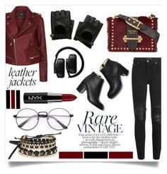 """Leather Jackets"" by zoeysunday ❤ liked on Polyvore featuring Maje, AMIRI, Avon, Prada, Hot Topic, Master & Dynamic and NYX"