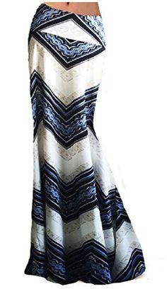 7b17943baf Women Fashion Summer Printed High Waisted Beach Maxi Skirts Long Skirt(White  Geometric), S