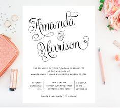 Script romantico matrimonio invito - inviti di nozze bella, elegante - invito a nozze elegante, Vintage