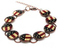 Primitive Style American Flag Link Bracelet