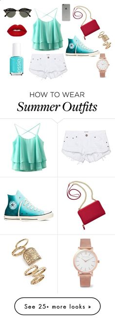 Summer Outfit by rachel-overgaard on Polyvore featuring One Teaspoon, Converse, TravelSmith, Ray-Ban, Topshop, Larsson  Jennings, Lime Crime, Essie and Incase