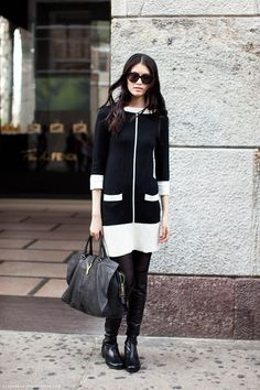 This monochrome shift dress is perfect for the trend.